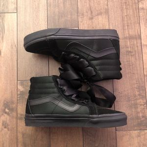 Vans black satin suede sk8-hi high top shoes
